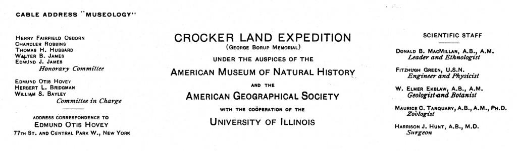 Crocker Land Expedition letterhead
